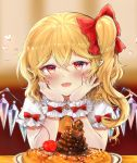 1girl arm_garter arm_support ascot bangs blonde_hair blush bow cherry chin_rest commentary_request crystal curly_hair elbow_rest elbows_on_table fang flandre_scarlet food food_request frilled_cuffs frilled_shirt_collar frilled_sleeves frills fruit hair_between_eyes hair_bow hands_on_own_cheeks hands_on_own_face hands_up head_rest head_tilt heart indoors looking_at_viewer nail_polish no_headwear one_side_up pancake plate pointy_ears puffy_short_sleeves puffy_sleeves red_bow red_eyes red_nails red_vest shiny shiny_hair shirt short_hair short_sleeves sidelocks solo table touhou vest white_shirt wings wrist_bow wrist_cuffs yellow_neckwear yuma_(yuuma_pants)
