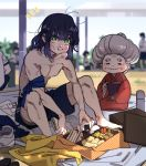 /\/\/\ 1boy 1girl abs aosuki88 armband bare_legs barefoot blanket blue_hair blue_shorts blurry blurry_background blush closed_eyes closed_mouth contemporary crumbs eating eyebrows_visible_through_hair food green_eyes grey_hair gym_uniform hair_between_eyes hashibira_inosuke hisa_(kimetsu_no_yaiba) japanese_clothes kimetsu_no_yaiba kimono looking_at_viewer medium_hair messy_hair obentou obi old_woman omelet onigiri outdoors sandwich sash sausage shirt_removed shirtless shoes_removed shorts sitting smile tempura thermos toned toned_male v