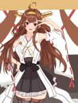 1girl :d ahoge bad_id bad_twitter_id bare_shoulders black_skirt boots brown_hair double_bun eyebrows_visible_through_hair headgear highres kantai_collection kongou_(kantai_collection) long_hair looking_at_viewer maruhi_(neetkaguya1) nontraditional_miko open_mouth pleated_skirt remodel_(kantai_collection) skirt smile solo thigh-highs thigh_boots v violet_eyes
