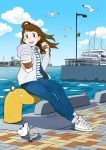 1girl bird blue_eyes blue_pants blue_sky boat brown_hair building city clouds cloudy_sky coffee commentary_request cup denim drawstring full_body highres holding holding_cup hood hood_down jeans jupachi18 long_hair ocean open_mouth original outdoors pants shadow shirt shoes sky smile sneakers solo striped striped_shirt thank_you twitter_username water watercraft white_bird white_footwear