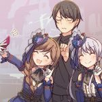 1boy 2girls :3 :d ^_^ ayasaka bang_dream! bangs black_hair black_neckwear black_shirt blue_flower blue_headwear blue_ribbon braid brown_hair cellphone center_frills closed_eyes commentary_request detached_sleeves dress earrings flower gloves grey_hair group_picture hair_flower hair_ornament hair_over_shoulder hat hat_ribbon holding holding_phone imai_lisa jewelry long_hair minato_yukina minato_yukina's_father multiple_girls neck_ribbon open_mouth phone pinky_out ribbon self_shot shirt side_ponytail single_braid smartphone smile taking_picture u_u upper_body wavy_mouth white_gloves
