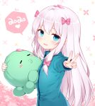 1girl 2020 absurdres blue_eyes bow commentary_request eromanga_sensei fang from_side green_jacket hair_bow highres hug izumi_sagiri jacket long_hair looking_back nomier object_hug open_mouth outstretched_arm outstretched_hand ribbon silver_hair smile solo stuffed_animal stuffed_toy upper_body v zipper