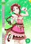 blush brown_eyes character_name dress gloves long_hair love_live!_school_idol_festival love_live!_sunshine!! purple_hair sakurauchi_riko smile