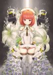 10_gentleman_13 1girl aikawa_aika alice_gear_aegis bangs bare_shoulders blunt_bangs closed_mouth covered_navel eyebrows_visible_through_hair floating floating_object floral_background flower gloves hands_together headgear highres leotard mecha_musume orange_hair pink_eyes praying solo white_gloves white_legwear white_leotard white_lily