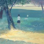 1girl bangqiao_yan brown_hair chair chinese_commentary commentary_request dappled_sunlight day facing_away from_behind grass meadow nature original outdoors paper_airplane shirt short_hair short_sleeves skirt solo standing sunlight tree white_shirt