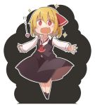 1girl black_legwear black_skirt black_vest blonde_hair collared_shirt commentary_request drooling fang full_body hair_ribbon heart jagabutter long_sleeves open_mouth outstretched_arms red_eyes red_neckwear red_ribbon ribbon rumia shirt short_hair skin_fang skirt socks solo sparkle spread_arms standing touhou translated vest white_shirt