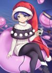 1girl :3 black_footwear black_legwear blue_background blue_eyes blue_hair blurry blurry_background book bookmark closed_mouth crossed_legs cup doremy_sweet dream_soul hat highres holding holding_cup long_sleeves looking_at_viewer nightcap nobori_ranzu pantyhose pom_pom_(clothes) red_headwear shoes short_hair sitting smile solo sweater tail touhou turtleneck turtleneck_sweater white_sweater