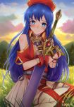 1girl artist_name backlighting bare_shoulders barefoot binding_blade_(weapon) blue_eyes blue_hair blush closed_mouth clouds cloudy_sky cute day fire_emblem fire_emblem:_fuuin_no_tsurugi fire_emblem:_the_binding_blade fire_emblem_6 fire_emblem_sword_of_seals heart intelligent_systems ippers lilina_(fire_emblem) long_hair looking_at_viewer meadow moe nintendo object_hug on_grass on_ground outdoors pleated_skirt red_headwear short_sleeves shoulder_cutout sitting skirt sky smile sunlight sword very_long_hair weapon white_skirt wrist_cuffs yokozuwari