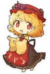 1girl aki_minoriko akihiyo apron barefoot black_skirt blush bright_pupils food food_themed_clothes fruit grapes hat mob_cap open_mouth outstretched_arms red_apron red_eyes red_headwear shirt simple_background skirt solo standing touhou white_background white_pupils wide_sleeves yellow_shirt
