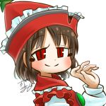 1girl avatar_icon brown_hair chamaji commentary_request eyebrows_visible_through_hair frilled_hat frills hat long_sleeves looking_at_viewer lowres lyrica_prismriver musical_note red_eyes red_headwear red_vest shirt short_hair signature smile solo star touhou vest waving white_shirt