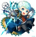 1boy asa02 black_footwear black_gloves blue_coat blue_eyes blush bracelet broken clenched_hand coat devil_may_cry devil_may_cry_5 fingerless_gloves gears gloves jewelry light_blush male_focus mechanical_arm necklace nero_(devil_may_cry) open_mouth red_shirt shirt signature simple_background sleeves_rolled_up solo sword teeth tongue torn_clothes torn_shirt upper_teeth watch weapon weapon_on_back white_background white_hair white_shirt zipper