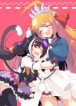 :d absurdres animal_ear_fluff animal_ears bangs black_dress black_hair black_legwear blush cat_ears cat_girl cat_tail closed_eyes commentary_request detached_sleeves dress fang frown gloves green_eyes hair_ribbon highres hug kyaru_(princess_connect) leaning_forward long_hair low_twintails multicolored_hair one_eye_closed open_mouth orange_hair pecorine princess_connect! princess_connect!_re:dive puffy_short_sleeves puffy_sleeves red_ribbon ribbon saliva short_dress short_sleeves skin_fang smile standing streaked_hair sw tail thigh-highs tiara twintails very_long_hair white_dress white_gloves