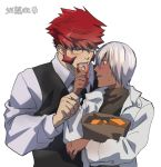 2boys blush dark_skin dark_skinned_male doughnut eating fangs food glasses jacket katou_teppei kekkai_sensen klaus_von_reinhertz male_focus multiple_boys necktie redhead waistcoat white_hair white_jacket zap_renfro