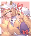 2girls :d bangs blonde_hair blush border bow brown_eyes clenched_hand commentary_request dress eyebrows_visible_through_hair fox_tail from_side gloves hair_between_eyes hand_up hat hat_ribbon heart highres long_hair looking_at_viewer masanaga_(tsukasa) mob_cap multiple_girls multiple_tails open_mouth outside_border pillow_hat pink_background profile puffy_short_sleeves puffy_sleeves purple_dress red_bow red_ribbon ribbon short_hair short_sleeves simple_background smile spoken_heart tail touhou upper_body violet_eyes white_border white_gloves white_headwear yakumo_ran yakumo_yukari yuri