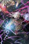 abs armlet armor bracelet cloak dual_persona final_fantasy final_fantasy_iv final_fantasy_iv_the_after glowing glowing_eyes golbeza highres jewelry looking_at_viewer magic moreshan muscle open_hand outstretched_arm serious shirtless silver_hair sword weapon