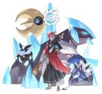 1boy alternate_color animal_ears beast_ball blue_hair carbink closed_mouth crystal_exarch eyebrows_visible_through_hair final_fantasy final_fantasy_xiv full_body gigalith holding holding_poke_ball looking_at_viewer lunatone lycanroc multicolored_hair poke_ball pokemon pokemon_(creature) potion_lilac redhead shiny_pokemon short_hair short_sleeves smile standing white_hair