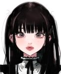 1girl bangs black_hair black_neckwear black_ribbon blunt_bangs brown_eyes close-up eyebrows eyelashes face frills lips long_hair looking_at_viewer mole mole_on_cheek mole_under_eye neck_ribbon nostrils original parted_lips pink_lips portrait ribbon simple_background solo straight_hair tsurime turtleneck two_side_up uomi_(eqtjc) white_background