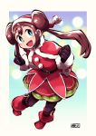 1girl belt black_gloves black_legwear blue_eyes border brown_hair chichibu_(chichichibu) double_bun dress fur_trim gloves hat highres long_hair looking_at_viewer mei_(pokemon) open_mouth pink_outline pokemon pokemon_(game) pokemon_bw2 red_dress red_footwear red_headwear santa_costume santa_hat shiny smile solo twintails white_border