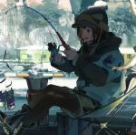 1girl absurdres beanie blue_nails blush brown_eyes brown_hair coat day fangs fishing fishing_rod hat highres holding holding_fishing_rod kukka looking_away open_mouth original outdoors short_hair sitting smile solo teeth