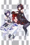 2girls ahoge ankle_cuffs arm_cuffs artist_name bangs bare_shoulders black_dress black_flower black_gloves black_hair blue_eyes blue_hair breasts chain checkered checkered_background commentary_request dark_persona dated dhkdldpa dress dress_flower eyebrows_visible_through_hair flower frilled_dress frills full_body gloves grey_background grey_dress hair_between_eyes hair_flower hair_ornament hand_up high_heels highres honkai_(series) honkai_impact_3rd keyhole leg_hug leg_up looking_at_viewer medium_breasts multicolored_hair multiple_girls red_eyes red_legwear redhead seele_vollerei seele_vollerei_(stygian_nymph) sidelocks sitting sleeveless sleeveless_dress smile thigh-highs two-tone_background two-tone_hair veliona white_background white_dress white_footwear white_gloves white_legwear wrist_cuffs zettai_ryouiki