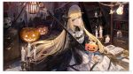 1girl arknights ascot bangs black_dress blonde_hair blue_eyes book bookshelf candle candlestand dress eyebrows_visible_through_hair gothic_lolita halloween highres horns indoors jack-o'-lantern light_bulb lolita_fashion long_hair long_sleeves looking_at_viewer mento multicolored multicolored_clothes multicolored_dress nightingale_(arknights) parted_lips pumpkin sidelocks sitting skull very_long_hair white_dress wide_sleeves
