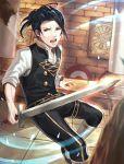 1boy absurdres black_hair felix_hugo_fraldarius fire_emblem fire_emblem:_three_houses garreg_mach_monastery_uniform highres open_mouth orange_eyes ponytail shiyo_(jkke5275) solo sparkle sword teeth weapon