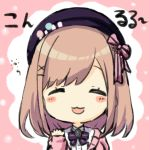 1girl :3 :d bangs beret black_headwear blush_stickers bow brown_hair cardigan chibi closed_eyes engiyoshi facing_viewer hair_bow hair_ornament hairclip hand_up hat long_sleeves nijisanji open_mouth pink_background pink_bow pink_cardigan purple_bow shirt sleeves_past_wrists smile solo striped striped_bow suzuhara_lulu swept_bangs two-tone_background upper_body virtual_youtuber white_background white_shirt x_hair_ornament