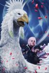 1girl armor artist_name asymmetrical_hair beak black_gloves breastplate chocobo feathers final_fantasy final_fantasy_xiii g21mm gloves highres lightning_farron lightning_returns:_final_fantasy_xiii parted_lips petals pink_hair popped_collar riding rose_petals shoulder_armor toned