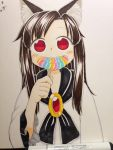1girl animal_ear_fluff animal_ears bangs black_scarf blush blush_stickers brown_hair candy eating food gem highres holding imaizumi_kagerou lollipop long_hair long_sleeves looking_at_viewer photo poronegi red_eyes scarf smile solo touhou traditional_media wide_sleeves wolf_ears younger