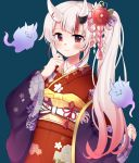 1girl alternate_costume alternate_hairstyle flower hair_between_eyes hair_flower hair_ornament hitodama hololive japanese_clothes kimono long_hair looking_at_viewer mizuki_(lvo0x0ovl) nakiri_ayame oni_horns red_eyes side_ponytail silver_hair simple_background smile solo virtual_youtuber
