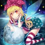 1girl :o alternate_legwear american_flag_dress american_flag_legwear arm_rest arm_support asymmetrical_clothes bangs blonde_hair blue_nails blush clownpiece crescent_moon dress eyebrows_visible_through_hair fairy_wings fingernails full_moon hair_between_eyes hat head_tilt jester_cap kneeling leaning_forward long_hair looking_at_viewer minamura_haruki moon nail_polish neck_ruff no_shoes parted_lips polka_dot_hat red_eyes red_nails ripples short_dress solo star star_print striped striped_dress striped_legwear thigh-highs touhou water wings zettai_ryouiki