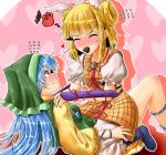 2girls ^_^ apron bangs blonde_hair blue_footwear blue_hair blunt_bangs blush boots breasts candy chocolate chocolate_heart closed_eyes commentary_request double_bun dress eyebrows_visible_through_hair facing_another feet_out_of_frame flying_sweatdrops food food_in_mouth green_apron hair_ribbon haniwa_(statue) haniyasushin_keiki head_scarf heart heart_background highres joutouguu_mayumi long_hair medium_breasts mouth_hold multiple_girls nose_blush oshiaki pants pink_background profile puffy_short_sleeves puffy_sleeves reclining red_eyes ribbon shirt short_dress short_hair short_sleeves sidelocks silhouette touhou very_long_hair white_pants white_ribbon white_shirt yellow_dress yuri