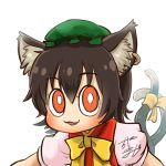 1girl animal_ears avatar_icon bow bowtie brown_hair cat_ears cat_tail chamaji chen chinese_clothes commentary eyebrows_visible_through_hair hair_between_eyes hat jewelry looking_at_viewer lowres mob_cap multiple_tails neck nekomata pillow_hat red_vest ribbon shirt short_hair short_sleeves signature single_earring solo tail tail_ribbon touhou two_tails vest white_shirt