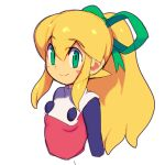 1girl blonde_hair blush breasts closed_mouth commentary_request dress green_eyes green_ribbon hair_ribbon long_hair looking_at_viewer metata ponytail red_dress ribbon rockman rockman_(classic) roll sidelocks simple_background sketch smile solo white_background