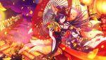 black_hair blush idolmaster idolmaster_shiny_colors long_hair red_eyes shirase_sakuya wink yukata