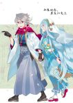 1boy 1girl aisutabetao azura_(fire_emblem) blue_hair corrin_(fire_emblem) corrin_(fire_emblem)_(male) fire_emblem fire_emblem_fates gloves headdress holding_hands japanese_clothes kimono long_hair manakete platinum_blonde_hair pointy_ears red_eyes scarf smile very_long_hair yellow_eyes yukata