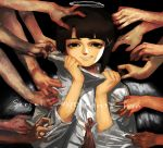 1girl asymmetrical_hair brown_hair commentary_request hair_ornament hairclip halo hands highres iwakura_lain looking_at_viewer multiple_boys serial_experiments_lain short_hair smile solo_focus