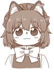 1girl :3 animal_ear_fluff animal_ears blush_stickers bow bowtie cat_ears chen closed_mouth eyebrows_visible_through_hair hat jewelry looking_at_viewer monochrome pillow_hat poronegi portrait short_hair simple_background single_earring smile solo touhou vest white_background