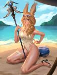 1girl animal_ears bangs beach blue_sky breasts commission day eyewear_on_head final_fantasy final_fantasy_xiv hair_ornament heterochromia high_heels highres holding holding_staff kneeling large_breasts leg_garter lips long_hair looking_at_viewer nguyen_uy_vu one-piece_swimsuit outdoors parted_lips rabbit_ears sky solo staff sunglasses swept_bangs swimsuit tan tanline viera wet