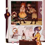 3girls apron bangs bell black_legwear blank_eyes blunt_bangs book bookshelf boots bow brown_eyes brown_footwear brown_gloves brown_hair buried coat cup deerstalker floral_print flower fountain_pen frills futatsuiwa_mamizou gloves green_skirt hair_bell hair_bow hair_flower hair_ornament hakurei_reimu hand_up hat hieda_no_akyuu highres holding holding_magnifying_glass holding_paper holding_pen indoors japanese_clothes kimono lantern leaf_hair_ornament leaning_forward looking_at_another magnifying_glass motoori_kosuzu multiple_girls open_mouth orange_hair paper paperclip pen pom_pom_(clothes) print_kimono purple_hair red_bow renzaoshen saucer shoes short_hair short_ponytail skirt socks steam sweatdrop tape teacup touhou two_side_up violet_eyes yellow_apron yellow_kimono