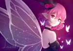 amesuupu bare_shoulders bug butterfly choker elf flower glowing_butterfly hat hat_flower insect lucid maplestory mini_hat mini_top_hat pink_eyes pink_hair pointy_ears red_flower red_rose rose top_hat
