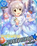 blush brown_eyes character_name dress grey_hair idolmaster idolmaster_cinderella_girls narumiya_yume short_hair smile stars winter
