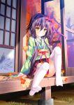 1girl absurdres bangs blush bow flower full_body green_kimono hair_bow highres japanese_clothes kimono kohaku_(mono_no_aware_wa_sai_no_koro.) long_hair long_sleeves mono_no_aware_wa_sai_no_koro. obi pleated_skirt purple_hair red_bow ribbon-trimmed_skirt ribbon_trim sash sitting skirt sleeves_past_wrists solo striped striped_bow thigh-highs white_legwear wide_sleeves yellow_eyes