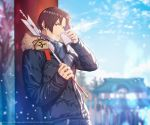 1boy arrow blue_sky blurry blurry_background brown_eyes brown_hair commentary_request drinking fur-trimmed_jacket fur_trim hamaya happy_new_year highres jacket kusanagi_kyou new_year official_art scarf short_hair sky snow solo temple the_king_of_fighters torii
