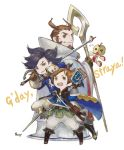 3boys bag black_hair black_legwear book boots bravely_default_(series) bravely_second:_end_layer brown_footwear brown_gloves brown_hair cassock gloves highres ikusy janne_angard multiple_boys musketeer nikolai_nikolanikov official_art open_mouth pants rapier robe shoulder_bag sleeve_cuffs smile square_enix staff sword weapon white_pants yew_geneolgia