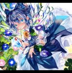1girl blue_dress blue_eyes blue_hair blue_ribbon bow cirno cup dress drinking drinking_straw fairy_wings flower frozen glass hair_bow highres holding holding_cup holding_drinking_straw hydrangea ice ice_wings leaf looking_at_viewer mint pinafore_dress pink_neckwear pink_ribbon puffy_short_sleeves puffy_sleeves ribbon ribbon-trimmed_sleeves ribbon_trim see-through see-through_sleeves short_hair short_sleeves sunflower touhou transparent transparent_wings wings zhu_xiang