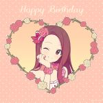 1girl ;) agata_(agatha) bare_shoulders blush closed_mouth collarbone flower flower_bracelet forehead frills hair_flower hair_ornament hair_ribbon hand_on_own_cheek happy_birthday heart idolmaster idolmaster_(classic) long_hair looking_at_viewer minase_iori one_eye_closed pink_background pink_flower pink_ribbon pink_rose polka_dot polka_dot_background purple_hair red_flower red_rose ribbon rose single_strap smile solo tareme upper_body violet_eyes white_flower white_rose