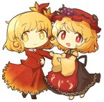 2girls aki_minoriko aki_shizuha akihiyo apron bangs barefoot black_skirt blonde_hair blouse blush bobby_socks bright_pupils brown_footwear chibi commentary eyebrows_visible_through_hair food food_themed_clothes fruit grapes hair_ornament hat leaf_hair_ornament long_sleeves looking_at_viewer mob_cap multiple_girls open_mouth outstretched_arms red_apron red_blouse red_eyes red_headwear red_skirt shirt short_hair siblings simple_background sisters skirt smile socks standing touhou white_background white_legwear white_pupils wide_sleeves yellow_eyes yellow_shirt