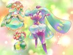 aida_haru bellossom black_eyes crown flower gen_2_pokemon gen_5_pokemon gen_7_pokemon lilligant mini_crown no_humans orange_eyes pink_eyes pokemon pokemon_(creature) simple_background standing tsareena