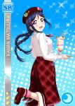 blue_hair blush braids character_name dress long_hair love_live!_school_idol_festival love_live!_sunshine!! matsuura_kanan smile violet_eyes